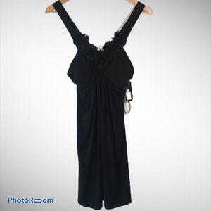 BCX Black Deep V-Neck Dress with Black Flowers